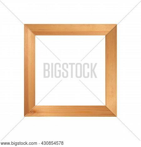 Wooden Frame. Yellow Simple Decorative Wood Border Isolated On White Background. Elegant Vintage Art