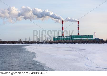 Air Pollution From A Natural Gas And Coal Power Plant. Emissions Of Harmful Substances Into The Atmo