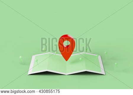 Mobile Navigation, Gps Satellite Navigation, Travel, Tourism And Location Route Planning Concept. Ma