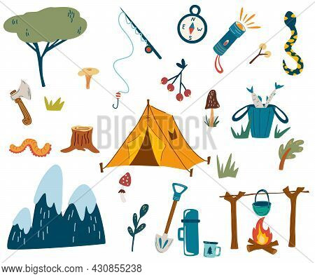 Camping And Hiking Set. Tourist Equipment. Hand Draw Hiking Outdoor Elements Kit. Cartoon Vector Ill