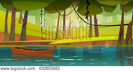 Wooden Boat On Forest Lake, Pond Or River With Deciduous Trees Around. Lonely Wood Skiff Float On Wa