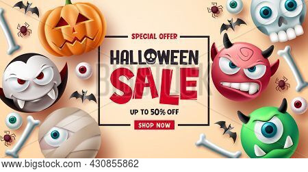 Halloween Sale Vector Banner Background Design. Halloween Special Offer Discount Text With Cute And