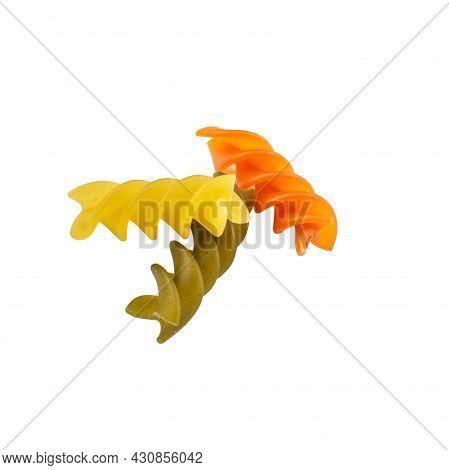 Raw Tricolor Fusilli Gluten Free Pasta Isolated On White Background. Italian Colorful Macaroni.