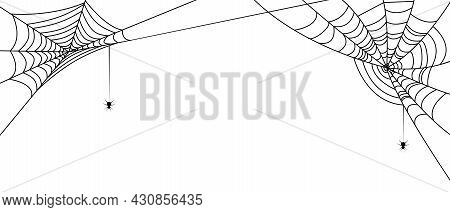 Halloween Banner With Spiderwebs And Spiders. Vector Illustration Isolated On White Background