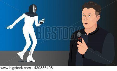 Tesla Ceo Elon Musk Unveils The Tesla Bot. The Humanoid Robot . Washington Dc, Cnn Business, Aug 19,