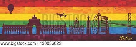 Lisbon On Lgbt Flag Background - Illustration,  Town In Rainbow Background,  Vector City Skyline Sil