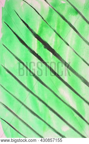 Abstract Watercolor Green Vertical Background With Black Diagonal Lines