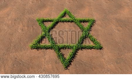 Concept conceptual green summer lawn grass symbol shape on brown soil or earth background, sign of religious hebrew David star. 3d illustration metaphor for Judaism, Israel, religion, prayer, belief