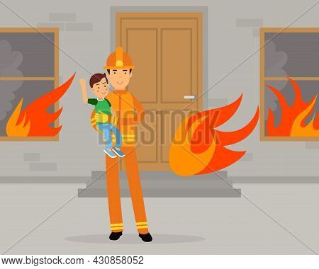 Firefighter In Orange Uniform And Protective Helmet Carrying Kid Away From Burning House Vector Illu