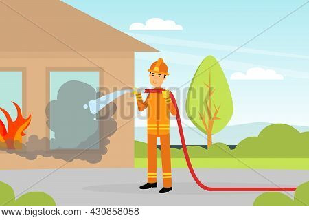 Firefighter In Orange Uniform And Protective Helmet With Hose Extinguishing Fire In House Vector Ill