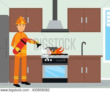 Firefighter In Orange Uniform And Protective Helmet With Fire Extinguisher Near Burning Oven Vector