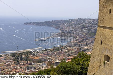 Naples, Italy - June 27, 2021: Aerial View From Castel Sant'elmo Of The Boulevard And Port On Tyrrhe