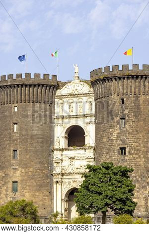Medieval Castel Nuovo Located Near The Port Of Naples, Front View Of Brick Towers, Naples, Italy