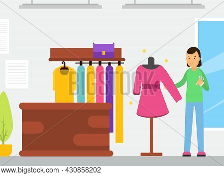 Young Woman Tailor Character Sewing Dress At Workshop Enjoying Hobby Activity Vector Illustration