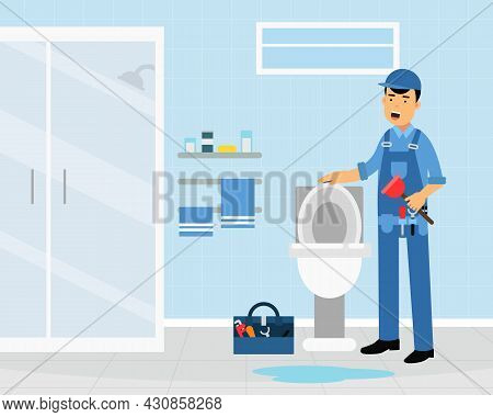 Professional Plumber In Blue Uniform Fixing Sanitary Ware Vector Illustration