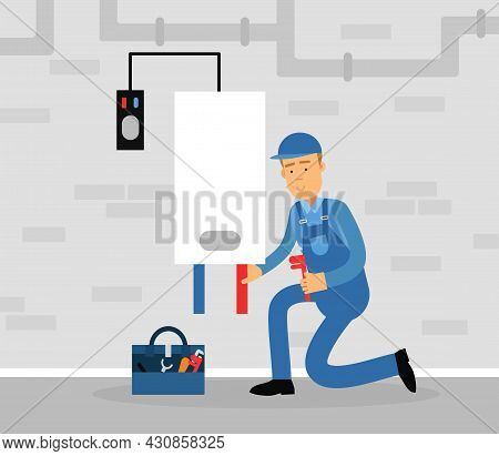Professional Plumber In Blue Uniform Fixing Boiler Vector Illustration