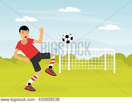 Young Man Character Playing Football Doing Sport And Physical Exercise Vector Illustration