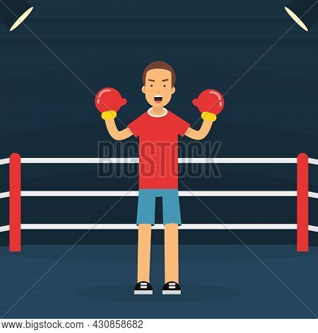 Young Man Character On Boxing Ring Doing Sport And Physical Exercise Vector Illustration