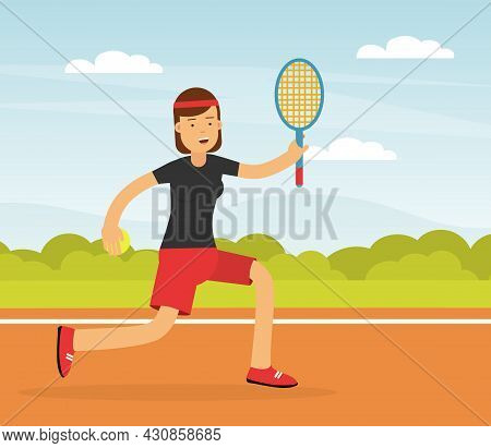 Young Woman Character Playing Tennis With Ball And Racket Doing Sport And Physical Exercise Vector I