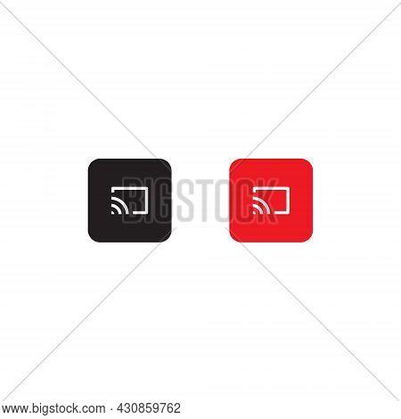 Chromecast, Screen Cast Button Icon Vector - Icon