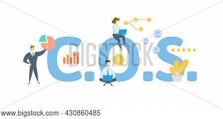 C.o.s. Cash On Shipment. Concept With Keyword, People And Icons. Flat Vector Illustration. Isolated