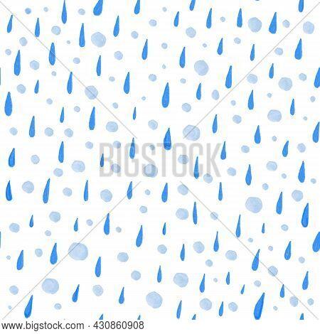 Seamless Pattern From Hand Drawn Watercolor Blue Rain Drops. Watercolor Rain Drops