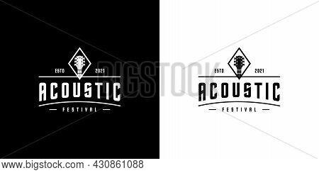 Acoustic Guitar Logo Design Vector Template Design