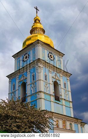 Scenic Landscape View Of Bell-tower Of Famous Saint Michael's Golden-domed Monastery In Kyiv. Tree W