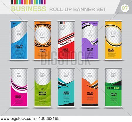 Business Roll Up Banner Template Set, Modern Exhibition Advertising, Web Banner Design, Roll Up Bann