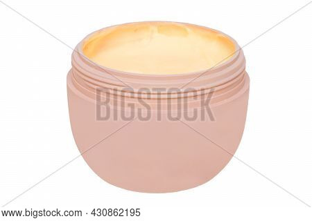 Cosmetic Labels. Closeup Of An Open Cosmetic Jar Of Concealer Cream, Makeup Foundation, Moisturising