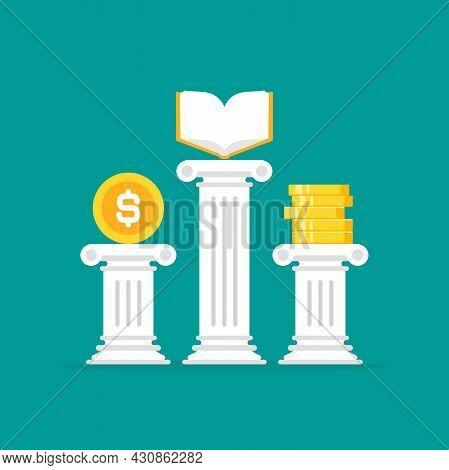 Greek Column With Golden Book And Money. Antique Pillar. Education Value, Study Expenses Concept. Kn