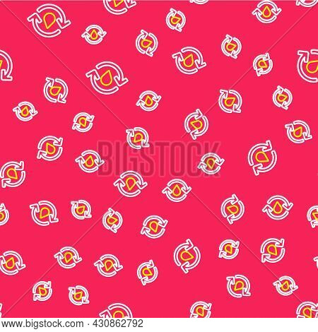 Line Recycle Clean Aqua Icon Isolated Seamless Pattern On Red Background. Drop Of Water With Sign Re