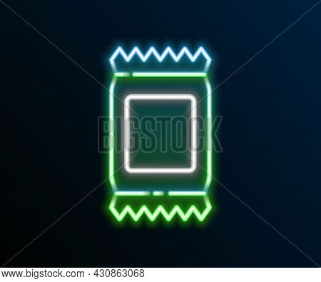 Glowing Neon Line Fertilizer Bag Icon Isolated On Black Background. Colorful Outline Concept. Vector