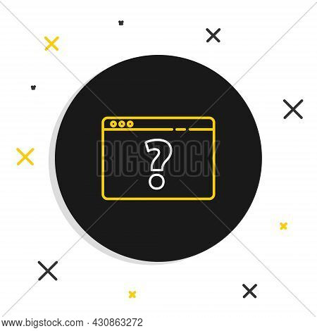 Line Browser With Question Mark Icon Isolated On White Background. Internet Communication Protocol.