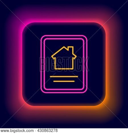 Glowing Neon Line Online Real Estate House On Tablet Icon Isolated On Black Background. Home Loan Co