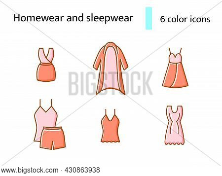 Cozy Pink Homewear And Sleepwear Flat Icons Set. Comfortable Clothes. Nightshirt And Nightie, Pajama
