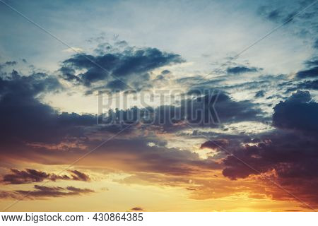 Colorful Sky And Clouds, Sunrise Or Sunset.