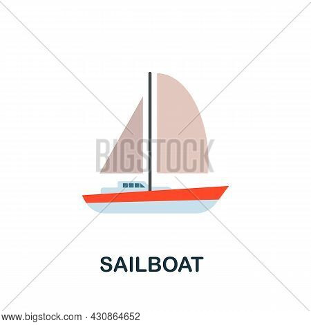 Sailboat Icon. Flat Sign Element From Transport Collection. Creative Sailboat Icon For Web Design, T