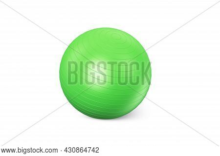 Green Fitness Ball Isolated On White Background. Pilates Training Ball. Fitball 3d Rendering Model F