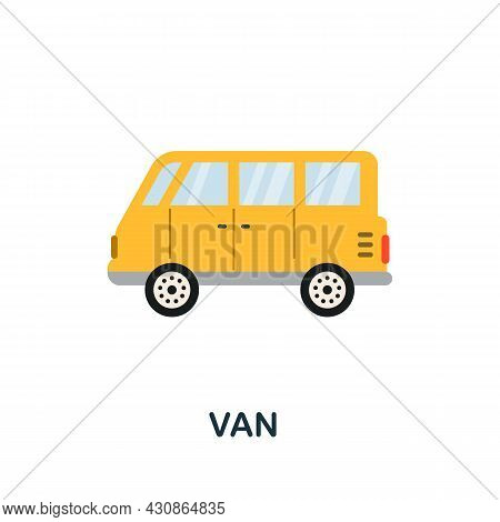 Van Icon. Flat Sign Element From Transport Collection. Creative Van Icon For Web Design, Templates,