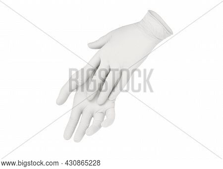 Medical Nitrile Gloves. Two White Surgical Gloves Isolated On White Background With Hands. Rubber Gl