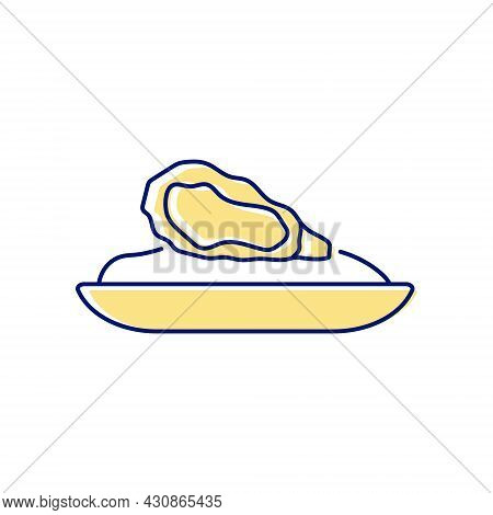 Oyster Omelette Flat Icon. Taiwanese Cuisine Restaurant Dish. Color Filled Symbol. Isolated Vector S