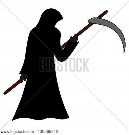 Grim Reaper. A Paranormal Entity In A Robe. Colored Vector Illustration. Isolated White Background.