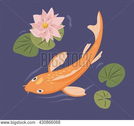 Japanese Koi Fish Swimming In Garden Pond With Flower. Japan Traditional Zen Carp In Water With Asia