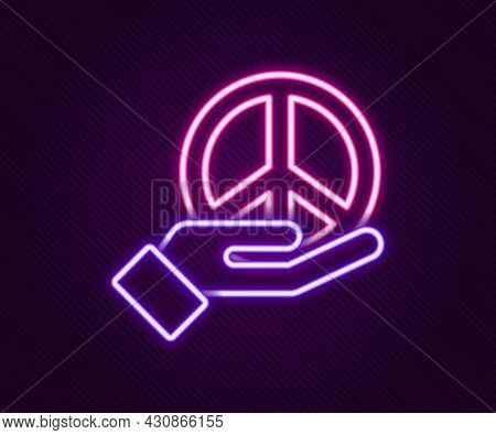 Glowing Neon Line Peace Icon Isolated On Black Background. Hippie Symbol Of Peace. Colorful Outline