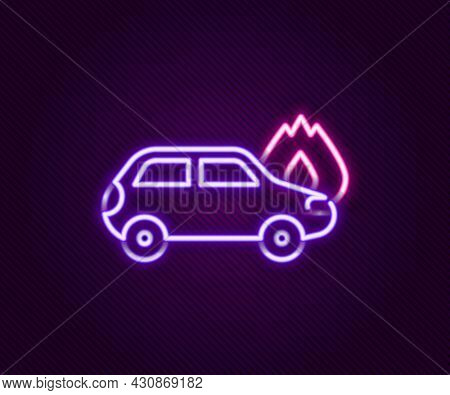 Glowing Neon Line Burning Car Icon Isolated On Black Background. Car On Fire. Broken Auto Covered Wi
