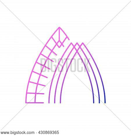 Glass Arch Outline Icon. Taiwan. Oriental Taiwanese Building. Asian Item. Purple Gradient Symbol. Is