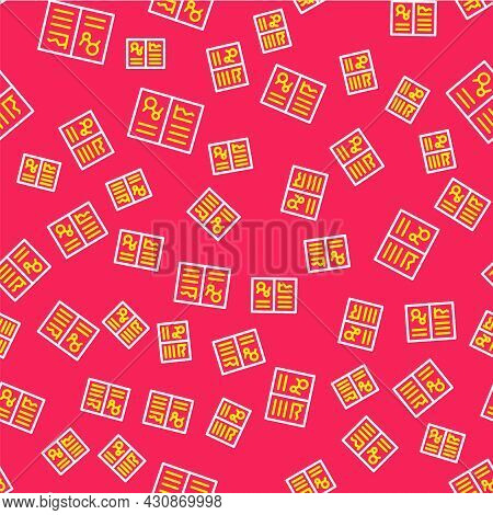 Line Medical Clipboard With Clinical Record Icon Isolated Seamless Pattern On Red Background. Health
