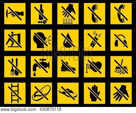 Set Symbol Prohibition Sign On White Background