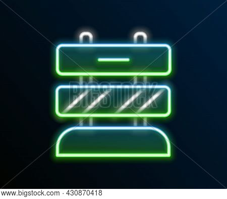 Glowing Neon Line End Of Railway Tracks Icon Isolated On Black Background. Stop Sign. Railroad Buffe